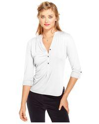 Maison Jules - White Three-Quarter-Sleeve V-Neck Top - Lyst