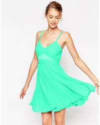 ASOS | Green Sheer And Solid Pleated Mini Cami Dress | Lyst