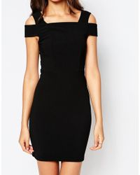 ASOS | Black Tall Cut Out Shoulder Rib Mini Bodycon Dress | Lyst
