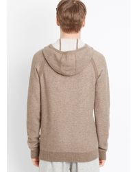 Vince Brown Plaited Cashmere Zip-up Hoodie for men