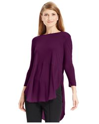 Vince Camuto | Purple Three-quarter-sleeve Mixed-media Top | Lyst
