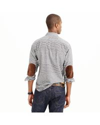 J.Crew   Gray Tall Cotton-wool Elbow-patch Shirt In Glen Plaid for Men   Lyst