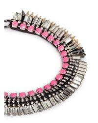 Venna - Multicolor Crystal Fringe Spike Necklace - Lyst