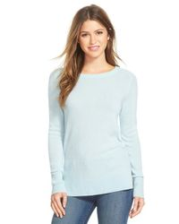 Halogen | Blue Crewneck Lightweight Cashmere Sweater | Lyst