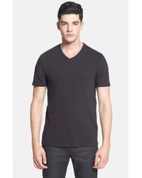 VINCE | Black Short Sleeve V-neck T-shirt for Men | Lyst