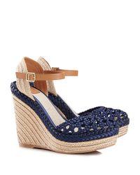 Tory Burch Blue Solemar Wedge Sandal
