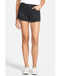 Volcom Black Distressed High Waist Denim Cutoff Shorts