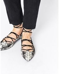 Senso Black Gia Snake Pony Multi Strap Flat Shoes