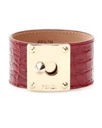 Fendi | Red Crocodile Leather Cuff with Studded Logo Closure | Lyst