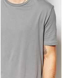 ASOS Gray Extreme Longline T-Shirt With Skater Fit for men