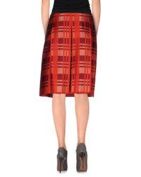 Jil Sander Navy - Red Knee Length Skirt - Lyst