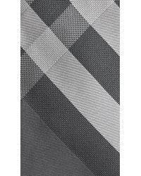 Burberry - Gray Beat Check Silk Tie for Men - Lyst