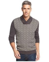 Geoffrey Beene | Gray Big And Tall Shawl-collar Diamond-print Sweater for Men | Lyst