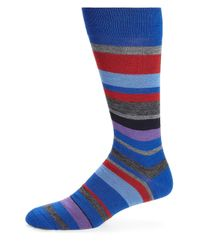 Saks Fifth Avenue - Blue Merino Wool-blend Wide Striped Socks for Men - Lyst