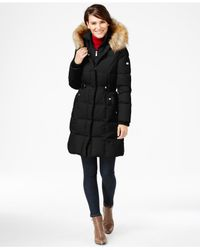 DKNY Black Faux-fur-trim Layered Puffer Coat