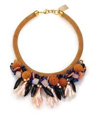 Lizzie Fortunato - Brown Painted Reality Semi-precious Multi-stone & Pearl Statement Bib Necklace - Lyst