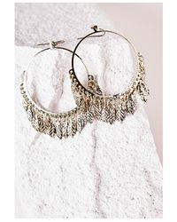Missguided - Metallic Large Leaf Detail Hoop Earrings Gold - Lyst