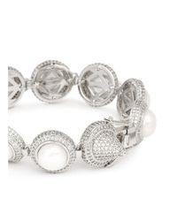 Eddie Borgo | Metallic Crystal Pavé Pearl Cabochon Bracelet | Lyst