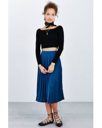 Kimchi Blue | Black Ribbed Off-the-shoulder Top | Lyst