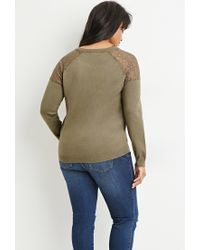 Forever 21 | Green Lace-paneled Sweater | Lyst