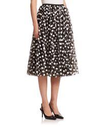 Michael Kors Black Paillette-dot Tulle Skirt