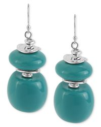 Robert Lee Morris | Blue Silver-tone Turquoise-colored Bead Double Drop Earrings | Lyst