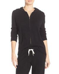 Monrow Black Cashmere Front Zip Hoodie