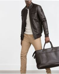 Zara | Brown Faux Leather Jacket for Men | Lyst