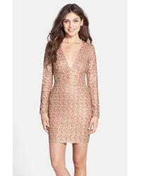 Dress the Population   Metallic 'bridget' Sequin V-neck Body-con Dress   Lyst