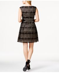 Vince Camuto Black Lace Pleated A-line Dress