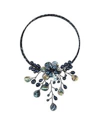 Aeravida | Pretty Black Abalone Shell Flower Ray Choker Wrap Necklace | Lyst