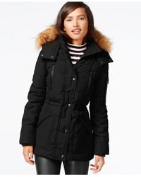 Guess | Black Faux-fur-trim Parka | Lyst