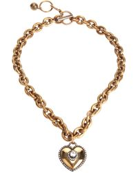 Lanvin - Metallic Heart Pendant Necklace - Lyst