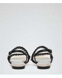 Reiss   Black Chiara Chain-detail Leather Sandals   Lyst