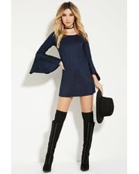 Forever 21 Blue Faux Suede Trumpet-sleeve Dress