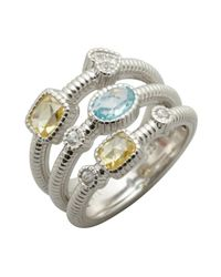 Judith Ripka | Metallic Sky Blue and Canary Crystal Three Band Ring | Lyst