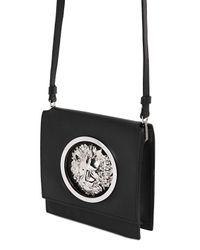Versus - Black Metal Lion Logo Leather Shoulder Bag - Lyst