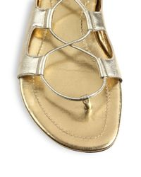 Tamara Mellon Chill Out Metallic Leather Lace-Up Gladiator Sandals