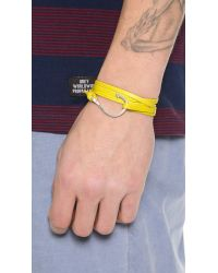 Miansai - Yellow Silver Hook Leather Wrap Bracelet for Men - Lyst