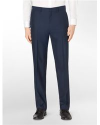 Calvin Klein | Blue White Label Classic Fit Shiny Navy Herringbone Suit Pants for Men | Lyst