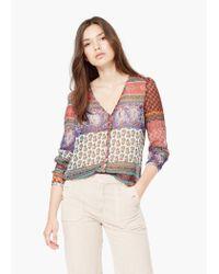 Mango | Multicolor Flowy Printed Blouse | Lyst