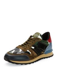 Valentino Black Rockrunner Paneled Camouflage Low-Top Sneakers