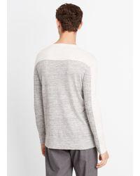 Vince Gray Sporty Jaspé Colorblock Crew Neck Sweater for men