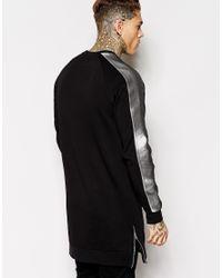 ASOS - Black Longline Sweatshirt With Sleeve Stripe & Side Zips for Men - Lyst