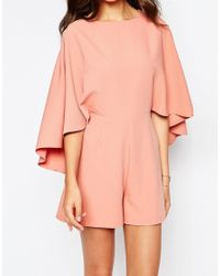 ASOS | Pink Playsuit With Cape Sleeve | Lyst