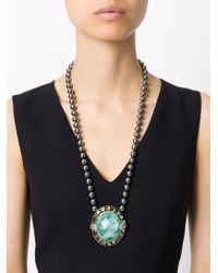Roberto Cavalli - Green Centre Crystal Beaded Necklace - Lyst