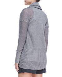 Vince Metallic Shawl-Collar Linen Cardigan
