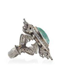 Armenta | Metallic New World Scalloped Green Turquoise & Diamond Ring for Men | Lyst