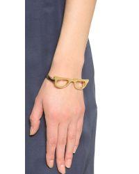 kate spade new york | Metallic Goreski Glasses Bangle Bracelet - Gold | Lyst