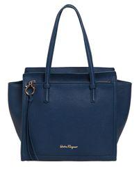Ferragamo Blue Medium Amy Grained Leather Tote Bag